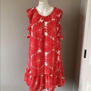 EUC J Crew Red Flowered Dress